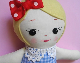 Blonde Handmade Ragdoll - Adorable handmade vintage inspired rag doll Plush Toy cloth doll heirloom doll
