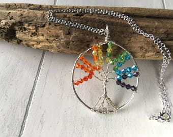Rainbow tree of life necklace, Rainbow Pride Flag, Rainbow Yggdrasil, LGBT+, Gay pride jewelry, LGBT jewelry, LGBT necklace, Coming out gift