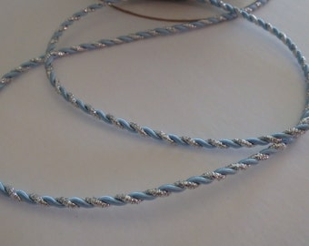 3mm shiny blue and silver cord/ribbon 5 yards (180 inches)