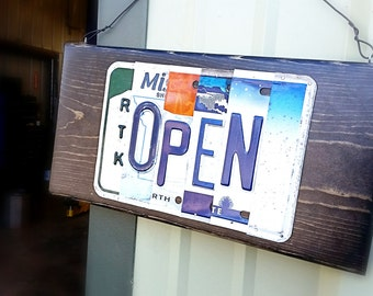 OPEN and CLOSED License plate sign