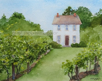 Winery Chadd's Ford-print of original watercolor painting-landscape watercolor-carol sapp-winery painting-winery watercolor-winery art