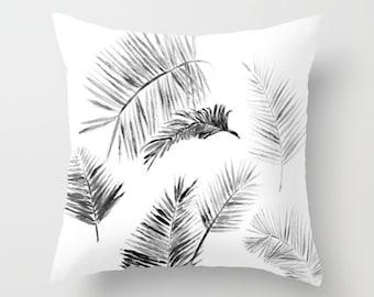 Black & White Palm Leaf Throw Pillow, palm leaf pillow, black leaves pillow, black leaf pillow, botanical pillow, black white pillow