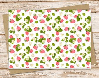 strawberry note cards, strawberries notecards . blossoms fruit blank card folded stationery stationary . set of 6