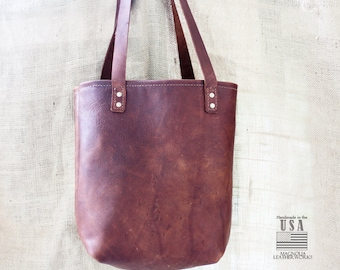 Leather Bucket Tote Bag | Type I in Meduim Brown