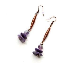 Charoite and Fluorite earrings Copper jewelry Ethnic style earrings Indie jewelry Purple stones long dangling indie earrings Small boho gift