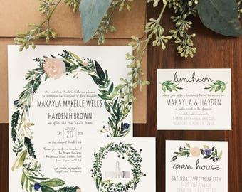 Floral Greenery Watercolor Custom Wedding Invitations