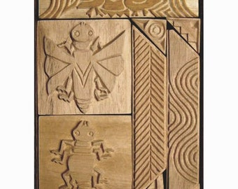Oshiwa Carved Wood Printing Stamp Set, Insects and Ducks, Item 32-44