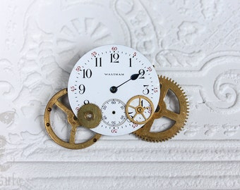 Steampunk Brooch with Antique Waltham Porcelain Pocket Watch Dial Face with Clock Gears and Cogs, Vintage Clock gears Cogs