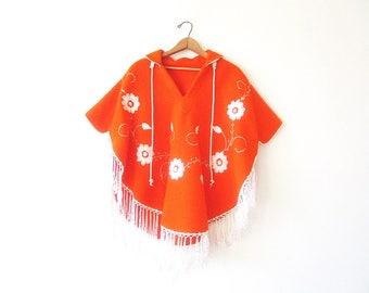 Vintage 60's Retro Orange FLORAL Wool Felt Embroidered FRINGE Poncho Cover Up