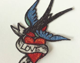 Vintage Tattoo Swallow Embroidered Patch