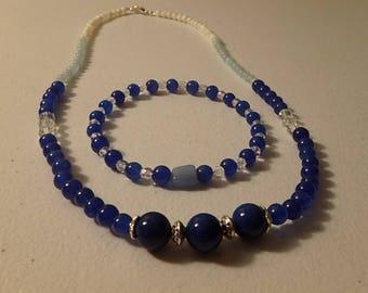 necklace , bracelet set blue jade, aventurine, aquamarine, mother of pearl , & crystals