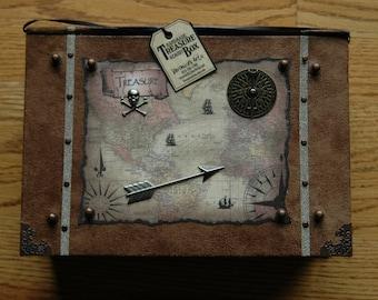 Handmade Treasure Chest Box - Rustic - Vintage Designed -  Microsuede