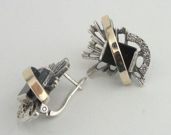 Great New Design 9K Yellow Gold and 925 Sterling Silver Black onyx flower earrings (s e1868bo)