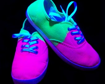 Tie Dye Shoes Size 7 / Canvas shoes / Handmade Shoes / Black Light Reactive Shoes