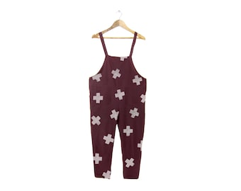 X-Marks the Spot Overalls - X Print Jumpsuit, Oversized Simple Romper, Cotton Cropped Pants in Maroon Plus Sign - Size S-5XL
