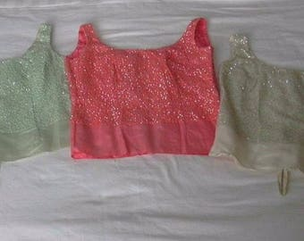 Sequin Pink White Mint Green Sleeveless Top Lot of 3 Small-Medium DIY Costume DesignSewing Project 1950s-1960s