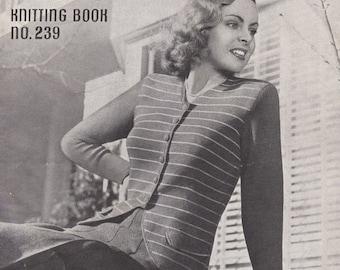 ON SALE Vintage 1940s - Paton's Knitting Pattern No 239 For Women/Ladies - Original Pattern