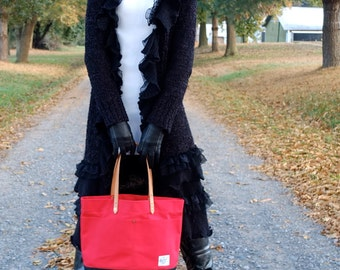 Waxed Canvas Tote Bag with Leather Handles - Large Red & Black Color Blocked Tote Perfect for Everyday, School, the Market or Tailgating