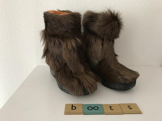 Vintage darkbrown ponyskin St. Moritz boots, size 28
