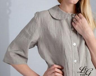 Linen Pajama Set Laced for Women/Luxury Linen Pajama/ Linen Sleepwear