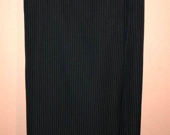 Vintage Black Pinstriped Maxi Skirt w Slit