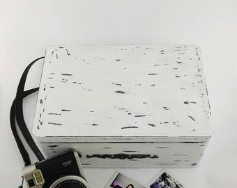 Rustic Box, Instax Polaroid storage box, Polaroid Camera Box,Polaroid Picture Box, Photo Box, Memory Box, Trinket Box, Black&White box