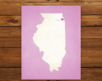 Customized Illinois State Art Print, State Map, Heart, Silhouette, Aged-Look Personalized Print