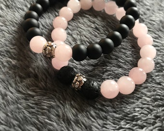 Beautiful Rose Quartz & Onyx His and Hers matching alternating bracelets