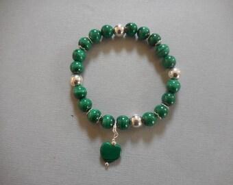 Malachite bracelet round 8 mm silver balls 925