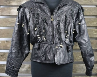 Vintage 1980's Black (Womens/Mens) Fringe Leather Jacket / Motorcycle Jacket