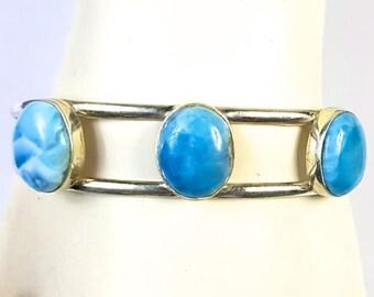 Beautiful Dominican Nice  Blue Larimar  Bracelet Cuff Bangle