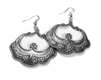 Art Nouveau Silver Earrings, ORNATE Hoop Earrings, Boho Earrings, Gypsy Dangle Earrings,Tribal Earrings, Valentine Gift - Steampunk Boutique