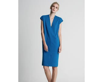 Shift dress, punto jersey dress, sky blue loose straight dress, v neck , dark grey cap sleeve dress, black mini dress