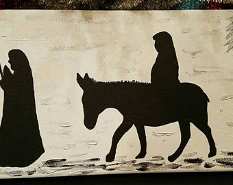 Mary and Joseph painting on canvas