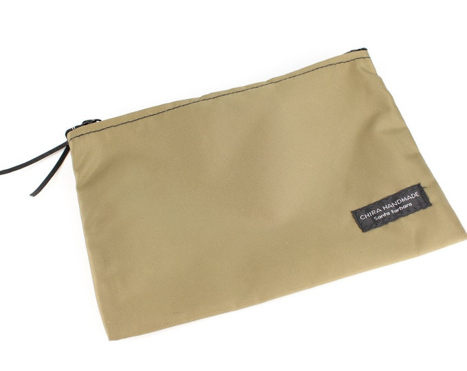 8x6 inch Khaki basic nylon zipper pouch -- use for travel, snacks, cosmetics, a tool bag, photo-video gear, and more!