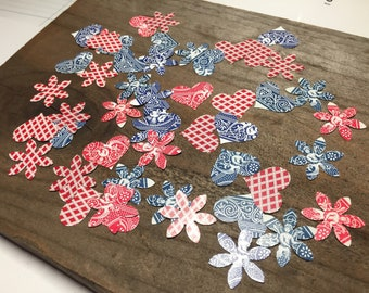 Confetti Hearts Flowers 4th of July Playing Cards Table Decor Party Decor Vintage Cards Punched Hearts Flowers Party Confetti Table Decor
