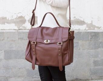 Women leather satchel - Leather messenger bag women - Laptop bag women - MELINA bag