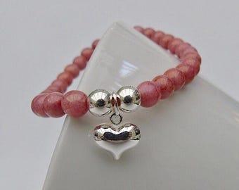 Pink Czech glass and sterling silver heart charm bracelet. Stacking bracelet. Friendship bracelet.