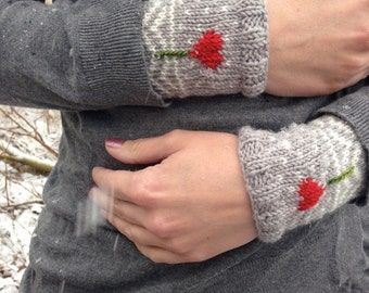 Love Braves the Cold Wrist Warmers Knitting Pattern - pdf download