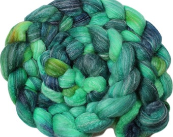 Shamrock - hand-dyed Merino wool / bamboo / silk (4 oz.) combed top roving