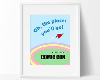 Nursery Prints, Printable Wall Art, Comic Con, Superhero, Digital Prints, Oh The Places You'll Go, Nerd Print, Geek Print, Printable Art