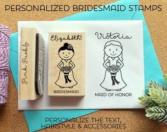 Personalized Bridesmaid Rubber Stamp, Personalized Bridesmaid Proposal Stamp OR Bridesmaid Gift - Choose Hairstyle and Accessories