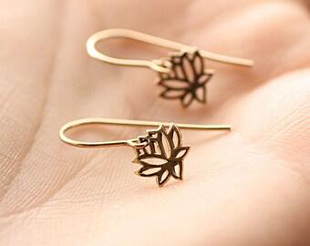 Tiny Lotus Earrings, Minimal Earrings, Everyday Earrings, Simple Earrings, Gold Lotus Earrings, Sterling Silver Lotus Earrings, Yoga Jewelry