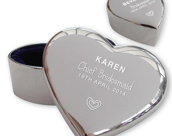 Personalised engraved CHIEF BRIDESMAID heart shaped trinket box wedding thank you gift idea  - TRW5