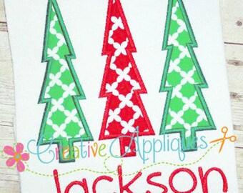 Christmas Tree Trio Applique Digital Machine Embroidery Design 4 Sizes