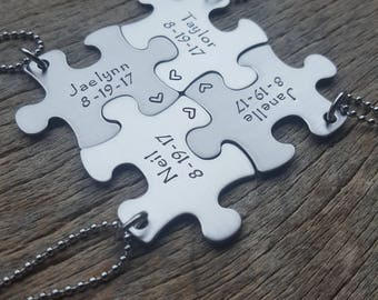 Customizable Name and Date Puzzle Piece  Necklace  Personalized Hand Stamped  Necklace Bridesmaid Graduation/Best Friends Wedding Gift