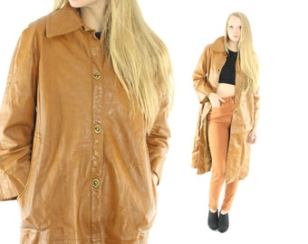 Vintage 70s LANVIN Leather Coat Trench Golden Tan 1970s Fall Winter Outerwear Fashion Medium M Large L Spy Overcoat