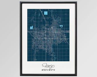 Fargo North Dakota Map, Fargo City Print, Fargo Poster, Fargo Wall Art gift, Custom city, Personalized map, North Dakota State University
