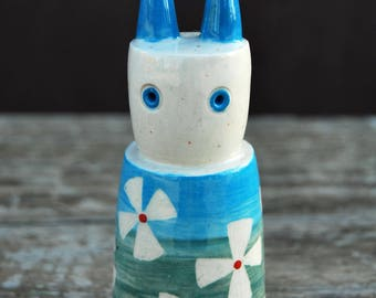 Hand Made Stoneware Blue Green Flowers Freaky Rabbit Sculpture