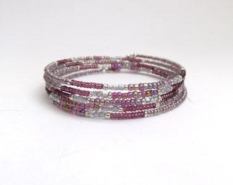 Mocha Pink Designer Bangle, Mauve Bracelet, Pink Delicate Bangle, Mauve and Silver, Slim Flexi Memory Wire Bracelet, Adjustable Bangle